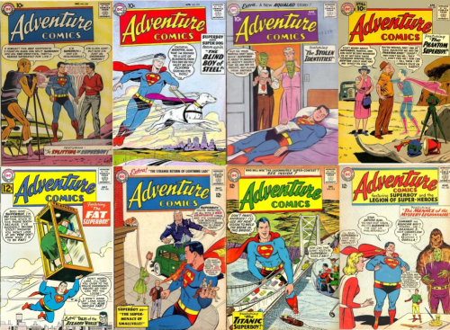 Superboy Transformations, Superboy Collage Key, Adventure Comics #255, Doppelganger, Adventure Comics #259, Blind Superboy, Adventure Comics #270, Alien Ma and Pa Kent, Adventure #283, Phantom Superboy, Adventure Comics #298, Fat Superboy, Fat Lana Lang, Adventure Comics # 308, Adventure Comics #315, Giant Superboy, Adventure Comics #330, Fat Superboy