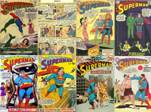 Superman Title, Superman Title Collage Key, Superman #139, Merman, Superman #139, Long Hair, Long Nails, Superman #165, Lion Headed Superman, Superman #171, Superman Caveman, Superman #186, Phantom Superman, Superman #221, Fat Superman, Superman #226, Giant Superman, Superman #263, Molten Superman,