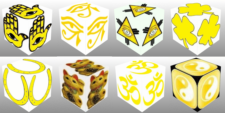 Cube, 3D Cube, Yellow Eye of Horus, Yellow Maneki Neko, Yellow Om, Yellow Ying Yang, Yellow Eye of Fatima, Yellow Eye of Providence, Yellow Horseshoe, Yellow Four Leaf Clover