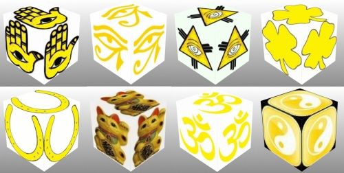 Cube, 3D Cube, Yellow Eye of Horus, Yellow Maneki Neko, Yellow Om, Yellow Ying Yang, Yellow Eye of Fatima, Yellow Eye of Providence, Yellow Horseshoe, Yellow Four Leaf Clover