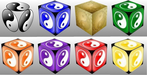 Dice, Cube, 3D Cube, Blue Ying Yang Symbol, Red Ying Yang Symbol, Purple Ying Yang Symbol, Orange Ying Yang Symbol, Green Ying Yang Symbol, Yellow Ying Yang Symbol, Black Ying Yang Symbol, Gold Ying Yang Symbol, collage, lucky charms, luck
