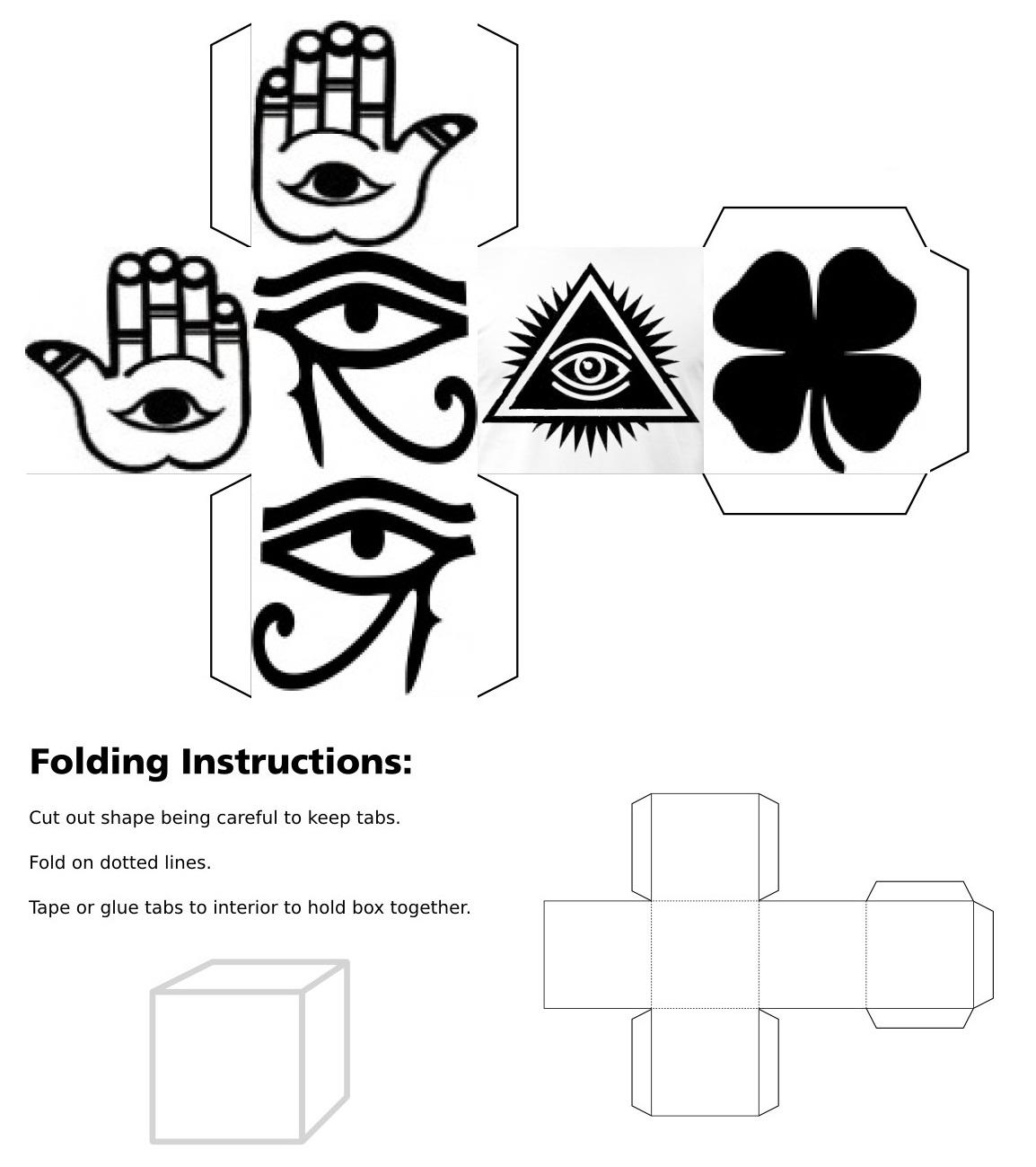 cube, 3d cube, lucky dice, luck symbols, Black Eye of Fatima, Black Eye of Providence, Black Four Leaf Clover, Black Horseshoe, Black Maneki Neko, Black Om, Black Ying Yang