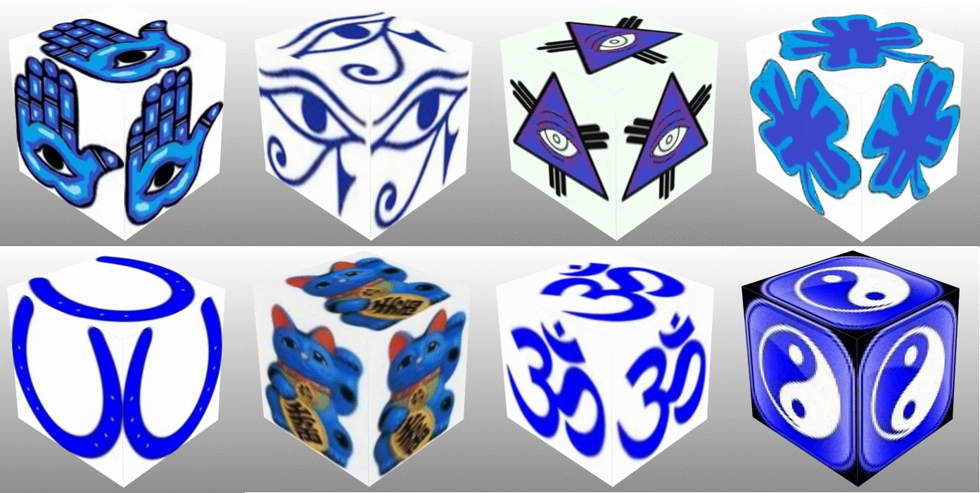 cube, 3d cube, lucky dice, lucky, symbols,Blue Eye of Fatima, Blue Eye of Providence, Blue Four Leaf Clover, Blue Horseshoe, Blue Maneki Neko, Blue Om, Blue Ying Yang
