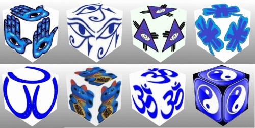 cube, 3d cube, lucky dice, lucky, symbols,Blue Eye of Fatima, Blue Eye of Providence, Blue Four Leaf Clover, Blue Horseshoe, Blue Maneki Neko, Blue Om, Blue Ying Yang