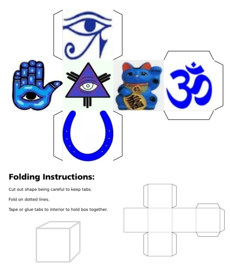 cube, 3d cube, Blue Eye of Fatima, Blue Eye of Providence, Blue Horseshoe, Blue Maneki Neko, Blue Om, Blue Eye of Horus