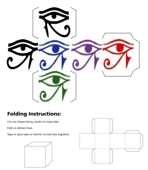 3D cube, dice, Eye of Horus, Left Eye of Horus, Blue Eye of Horus, Green Eye of Horus, Purple Eye of Horus, Red Eye of Horus
