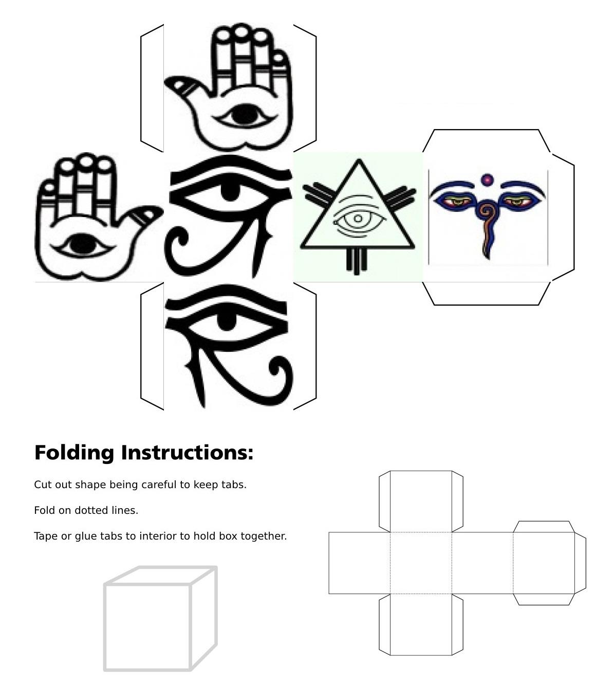Cube, 3D cube, Eye of Fatima Right, Eye of Fatima Left, Eye of Horus Right, Eye of Horus Left, Eye of Providence, Eyes of Buddha