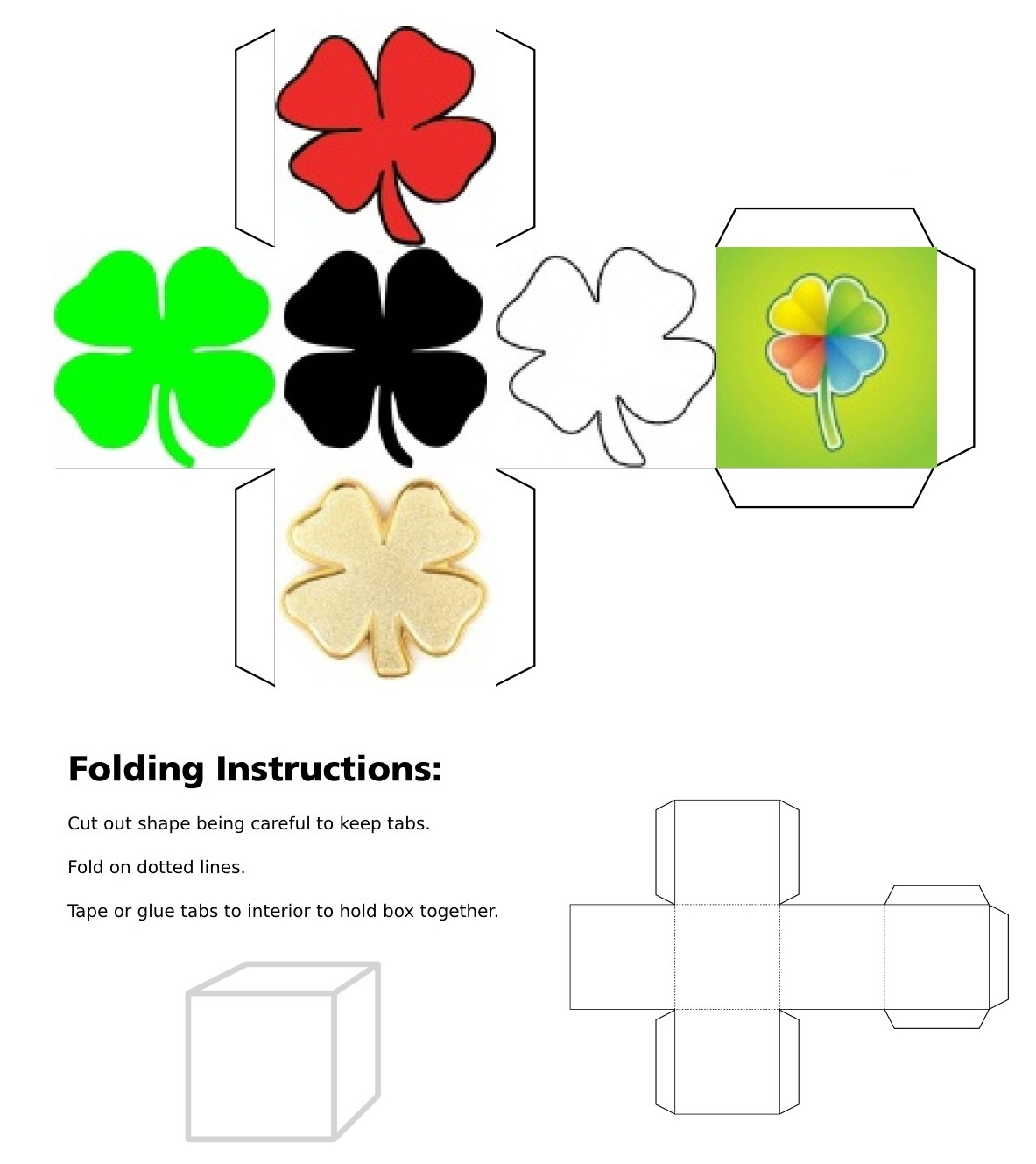 3D cube, dice, Good Luck, Good Luck Dice, Green Clover, Red Clover, Black Clover, Gold Clover, White Clover, Rainbow Clover, Four Leaf Clover