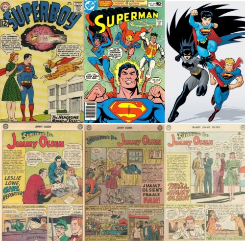 Gender, cross-dressing, female Krypto, Kryptonia, Cross-Dressing, Superman #349, Superman/Batman #24, Jimmy Olsen #67, Jimmy Olsen #84, Jimmy Olsen #95, Jimmy Olsen #159, Bah, Hembeck! #4, Real Girl #6