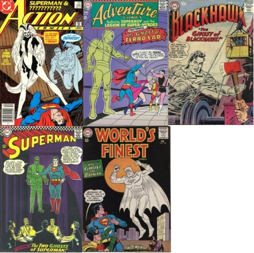 Ghost Collage Key, Action Comics #595, Superman Ghost, Adventure Comics #357, The Ghost of Ferro Lad, Blackhawk #127, Blackhawk Ghost, Superman #186, Clark Kent Ghost, Superman Ghost, World's Finest #130, Batman Ghost