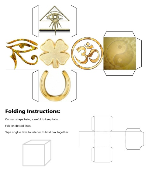 cube, 3d cube, lucky dice, luck symbols, Gold Eye of Fatima, Gold Eye of Providence, Gold Four Leaf Clover, Gold Horseshoe, Gold Maneki Neko, Gold Om, Gold Ying Yang