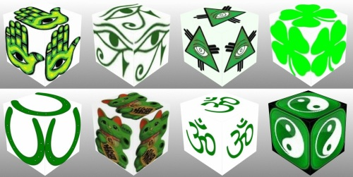 Cube, 3D Cube, Green Maneki Neko, Green Eye of Fatima, Green Eye of Horus, Green Eye of Providence, Green Four Leaf Clover, Green Horseshoe, Green Maneki Neko, , lucky dice, luck symbols, Green Om, Green Ying Yang, collage