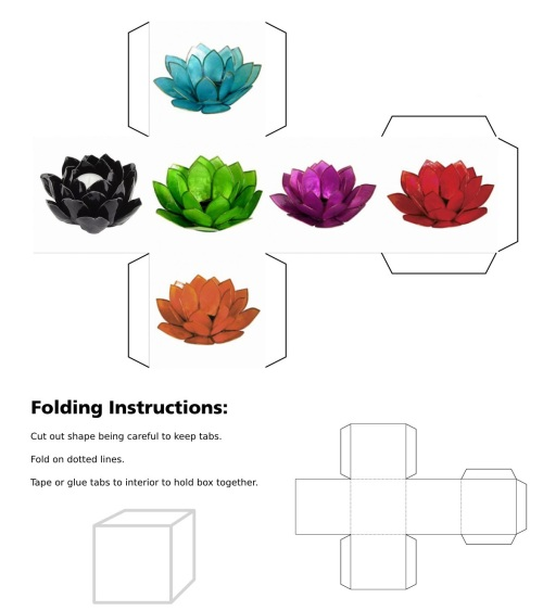 cube, 3D cube, Blue Lotus, Skt., utpala, Tib., ut pa la, Green Lotus, Orange Lotus, Gold Lotus, Pink Lotus, padma, pad ma dmar po, kamala, pad ma chu skyes, pundarika, pad ma dkar po