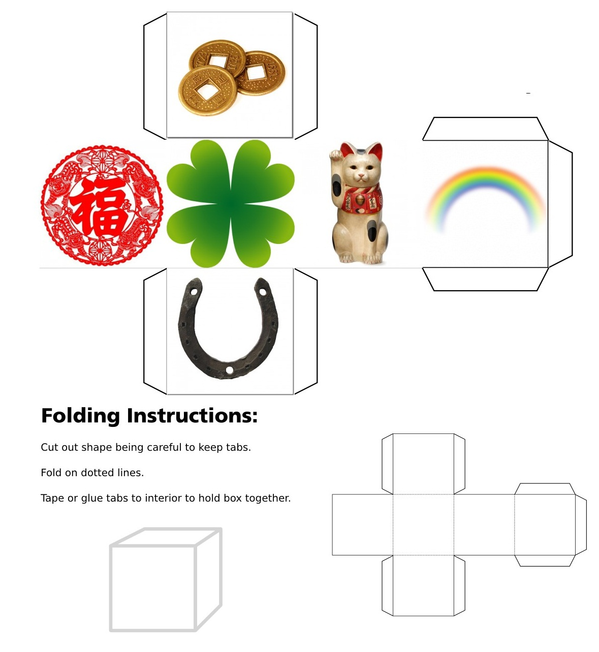 3D cube, cube, dice, luck, good luck, Chinese coins, Chinese characters, Horse Shoe, Shamrock, Lucky Dice, Lucky Symbols, Maneki Neko. Four Leaf Clover, Clover