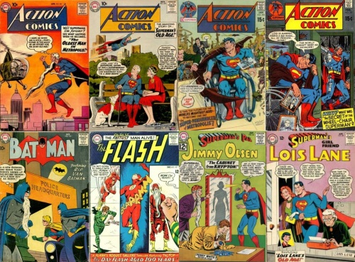 Old Transformations, Old Collage Key, Action Comics #251, Oldest Man in Metropolis, Action Comics #270, Superman's Old Age, Action Comics #396, Crippled and Old Superman, Action Comics #397 (Part II), Batman #119, Rip Van Batman, Flash #157, Oldest Man Alive, Jimmy Olsen #, Old Jimmy Olsen, Lois Lane #, Lois Lane's Old Age