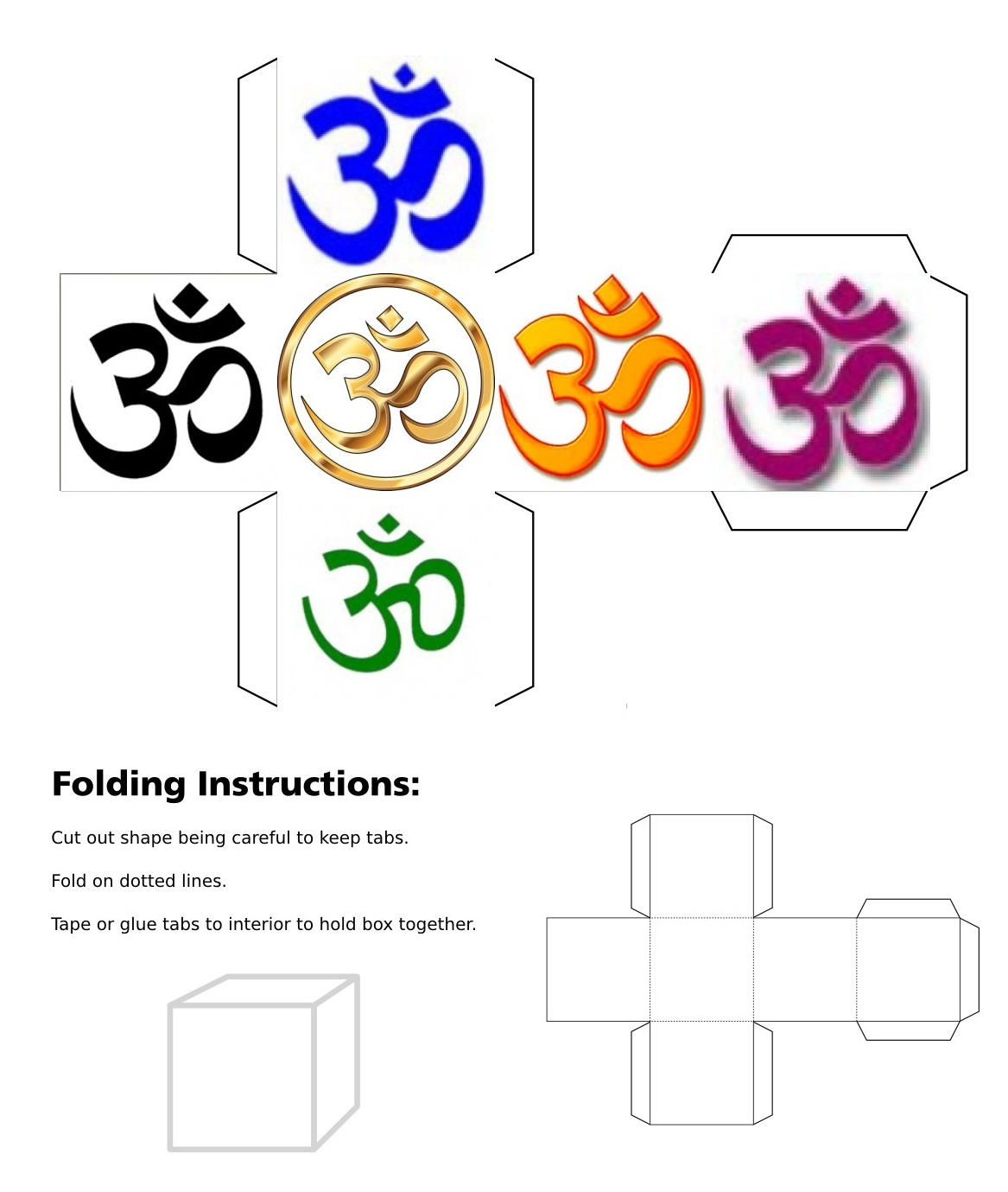 cube, 3d cube, Om symbol, black om, blue om, gold om, green om, orange om, purple om, red om, Pink Om, white om, yellow om, collage, good luck, Hindu, silver om, banner, mandala