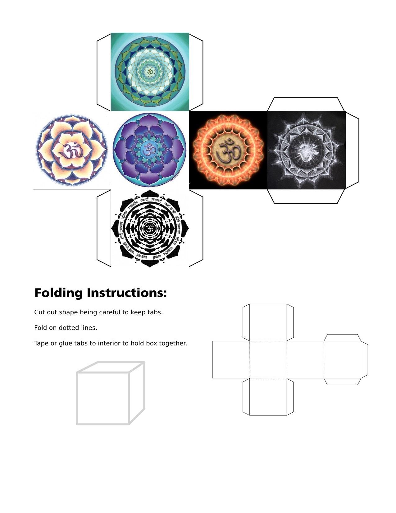 cube, 3d cube, Om symbol, black om, blue om, gold om, green om, orange om, purple om, red om, mandala