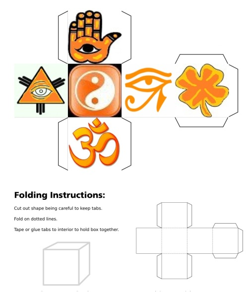 Cube, 3D Cube, Orange Eye of Horus, Orange Maneki Neko, Orange Om, Orange Ying Yang, Orange Hand Fatima, Orange Eye of Providence, Orange Four Leaf Clover