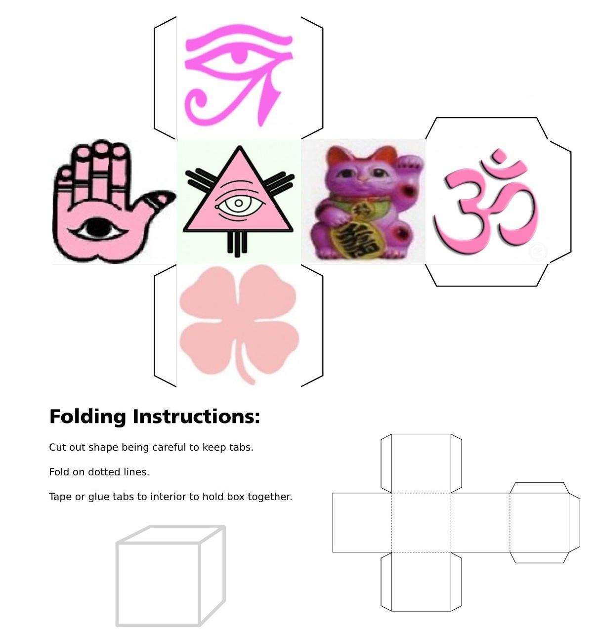 Cube, 3D Cube, Pink Maneki Neko, Pink Eye of Fatima, Pink Eye of Horus, Pink Eye of Providence, Pink Four Leaf Clover, Pink Horseshoe, Pink Maneki Neko, Pink Buddha, Pink Chinese Calligraphy, Pink Lotus Flower, Pink Om, Pink Ying Yang