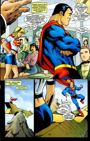 Supergirl (vol. 4) #79 (2003) Superman is exposed to Pink Kryptonite and then shows gay tendencies.  This was a spoof of the Red Kryptonite transformations of the silver age.