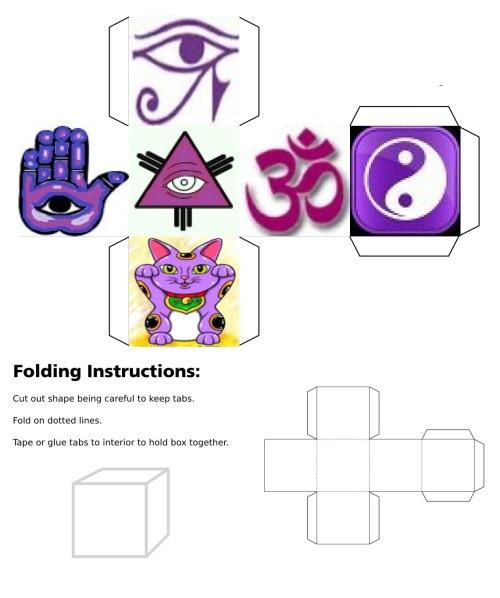Cube, 3D Cube, Purple Eye of Horus, Purple Maneki Neko, Purple Om, Purple Ying Yang, Purple Eye of Fatima, Purple Eye of Providence