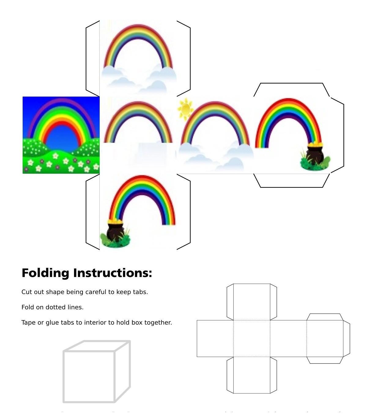 Rainbow over field, Rainbow and two clouds cube, Rainbow alone, Rainbow with pot on the left, Rainbow with pot on the right, Rainbow and two clouds and sun, 3Dcube, dice, dice, Good Luck