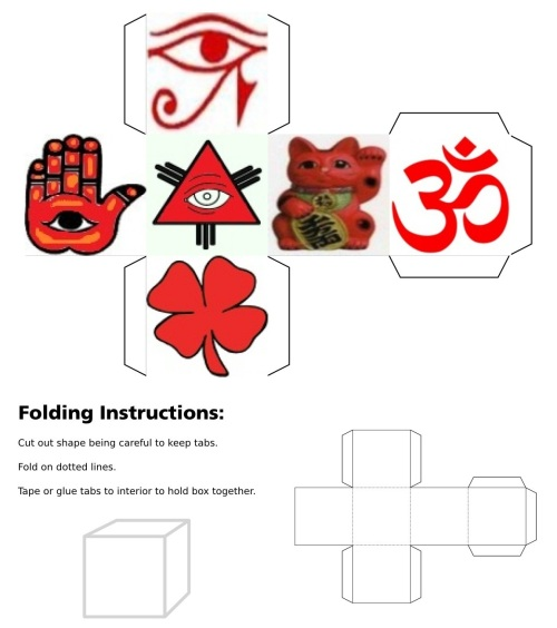Cube, 3D Cube, Red Eye of Horus, Red Maneki Neko, Red Om, Red Ying Yang, Red Eye of Fatima, Red Eye of Providence