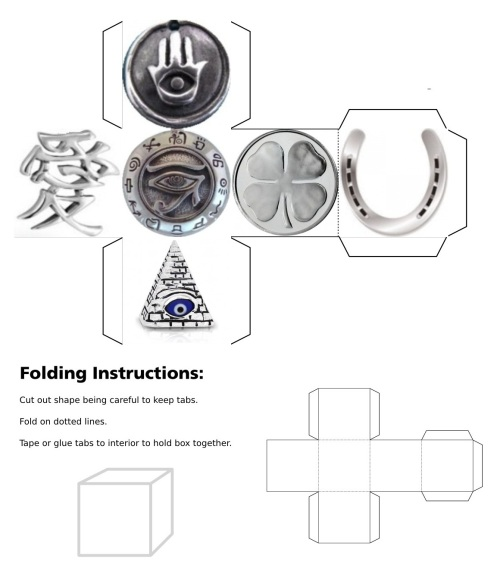 cube, 3d cube, lucky dice, luck symbols, Silver Eye of Fatima, Silver Eye of Providence, Silver Four Leaf Clover, Silver Horseshoe, Silver Maneki Neko, Silver Om, Silver Ying Yang