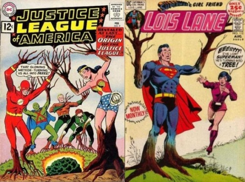 Trees, Trees Collage Key, Justice League of America #9, Justice League Trees, Lois Lane #112, Superman Tree