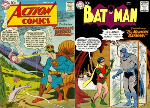 Underwater Transformations, Underwater Collage Key, Batman #118, Merman Batman, Superman #244, Superman's Undersea Kingdom
