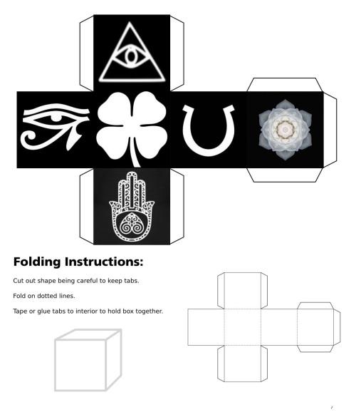 Cube, 3D Cube, Dice, White Eye of Horus, White Eye of Fatima, White Eye of Providence, White Four Leaf Clover, White Horseshoe, White Lotus Flower