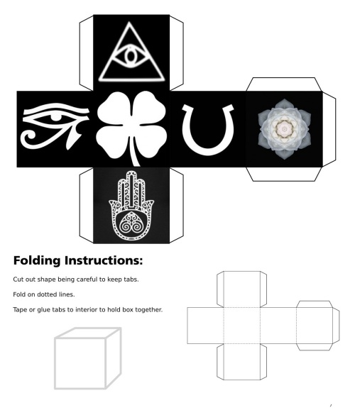 Cube, 3D Cube, Dice, White Eye of Horus, White Eye of Fatima, White Eye of Providence, White Four Leaf Clover, White Horseshoe, White Lotus Flower