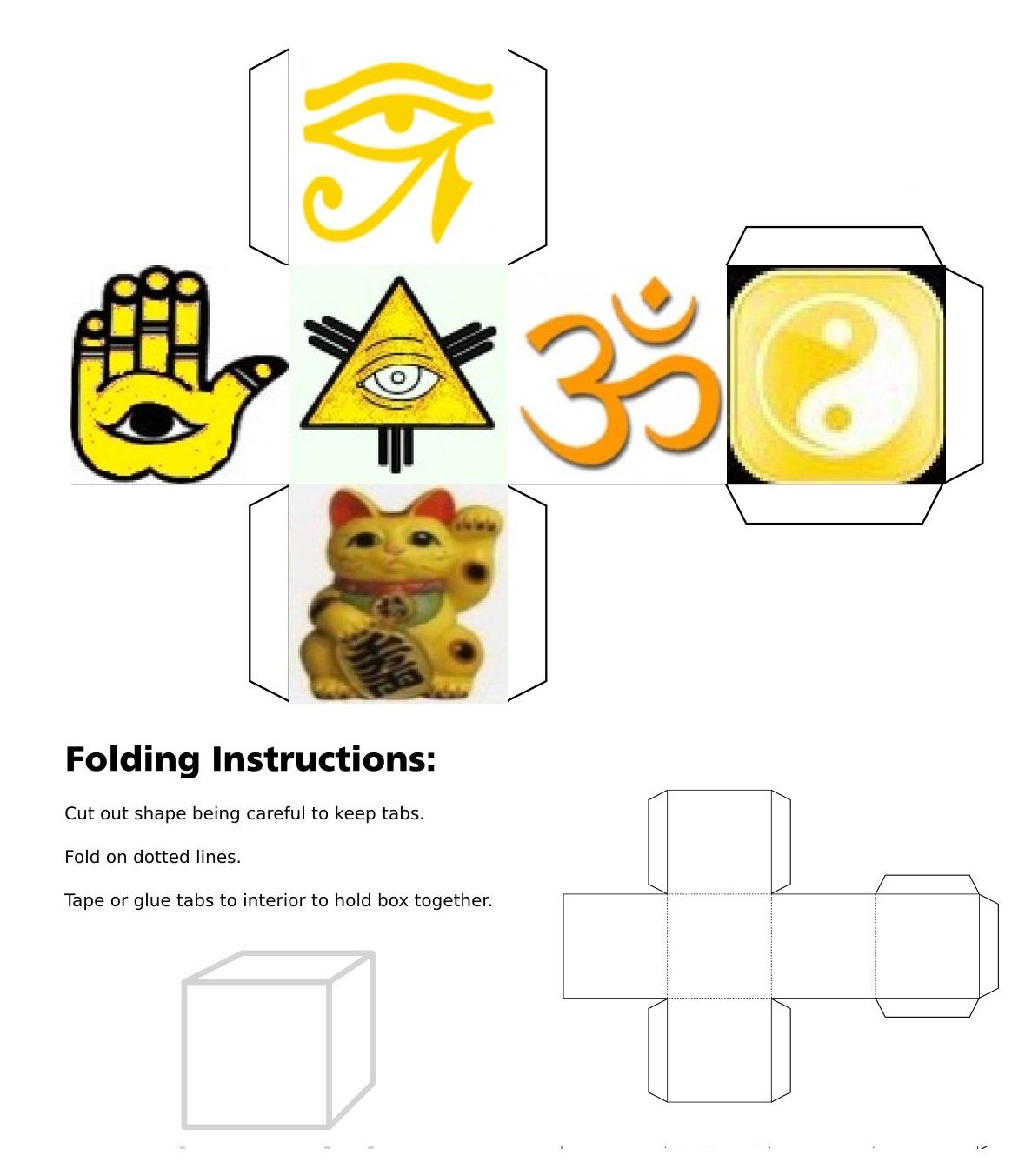 Cube, 3D Cube, Yellow Eye of Horus, Yellow Maneki Neko, Yellow Om, Yellow Ying Yang, Yellow Eye of Fatima, Yellow Eye of Providence