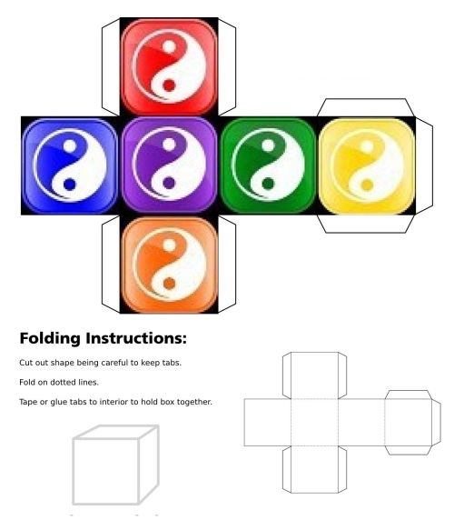 Dice, Cube, 3D Cube, Blue Ying Yang Symbol, Red Ying Yang Symbol, Purple Ying Yang Symbol, Orange Ying Yang Symbol, Green Ying Yang Symbol, Yellow Ying Yang Symbol