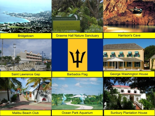 Barbados Flag, Bridgetown, George Washington House, Graeme Hall Nature Sanctuary, Harrison's Cave, Malibu Beach Club, Ocean Park Aquarium, Saint Lawrence Gap, Sunbury Plantation House and Museum