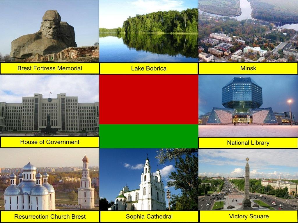 Belarus, Belarusian Flag, Brest Fortress Memorial, Lake Bobrica, Minsk, Minsk House of Government, National Library, Resurrection Church Brest, St Sophia Cathedral, Victory Square