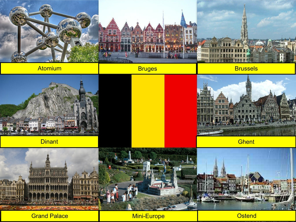 Atomium, Belgian Flag, Belgium, Bruges, Brussels, Collage, Dinant, Ghent, Grand Palace, Mini-Europe, Ostend