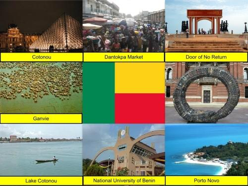 Benin Flag, Cotonou, Dantokpa Market, Ganvie, Lake Cotonou, National University of Benin, Porto Novo, Romuald Hazoumé