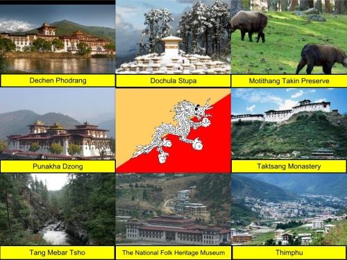 Bhutan Flag, Dechen Phodrang, Dochula Stupa, Motithang Takin Preserve, Punakha Dzong, Taktsang Monastery, Tang Mebar Tsho, The National Folk Heritage Museum, Thimphu