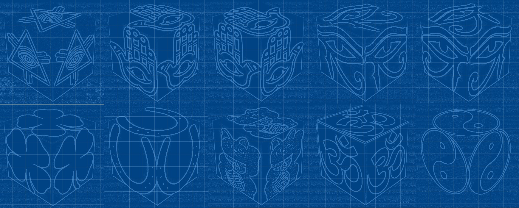 cube, 3d cube, lucky dice, luck symbols, Blueprint Eye of Fatima, Blueprint Eye of Providence, Blueprint Four Leaf Clover, Blueprint Horseshoe, Blueprint Maneki Neko, mandala