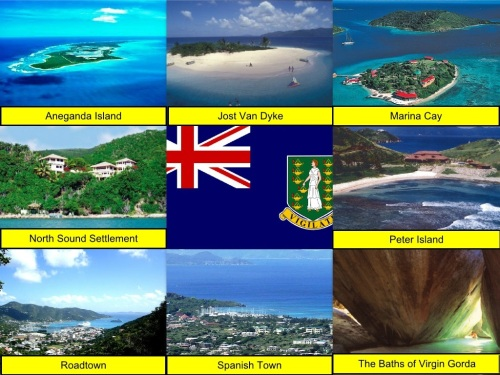 Aneganda Island, Jost Van Dyke, Marina Cay, North Sound Settlement, British Virgin Islands Flag, Peter Island, Roadtown, Spanish Town, The Baths of Virgin Gorda, collage, British Virgin Islands Collage