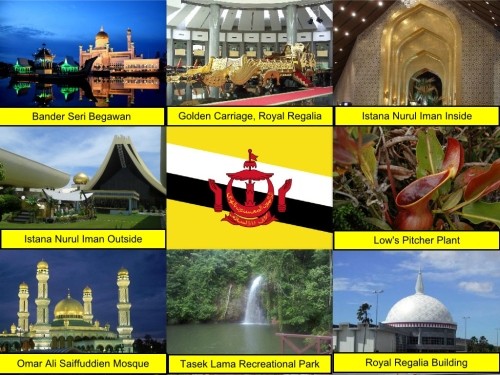 Brunei Collage, collage, Bandar Seri Begawan, Golden Carriage, Royal Regalia, Istana Nurul Iman, Brunei Flag, Low's Pitcher Plant, Omar Ali Saiffuddien Mosque, Tasek Lama Recreational Park, The Royal Regalia Building