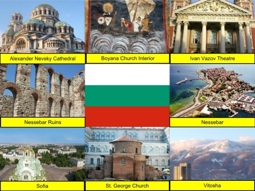 Bulgaria Collage, Bulgarian Flag, collage, Alexander Nevsky Cathedral, Boyana Church Interior, Ivan Vazov Theatre, Nessebar Ruins, Nessebar, Sofia, St. George Church, Vitosha