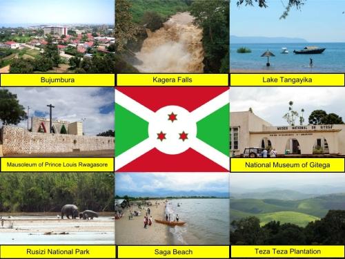 Burundi Collage, Burundi Flag, collage, Bujumbura, Kagera Falls, Lake Tanganyika, Mausoleum of Prince Louis Rwagasore, National Museum of Gitega, Rusizi National Park, Saga Beach, Teza Teza Plantation