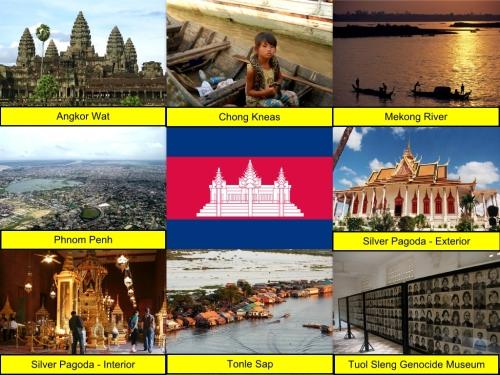 Cambodian Collage, collage, Angkor Wat, Chong Kneas, Mekong River, Phnom Penh, Tonle Sap, Tuol Sleng Genocide Museum