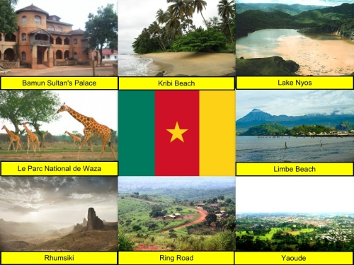 Cameroon Collage, Cameroon Flag, collage, Bamun Sultan's Palace, Kribi Beach, Lake Nyos, Le Parc National de Waza, Limbe Beach, Rhumsiki, Ring Road, Yaoude