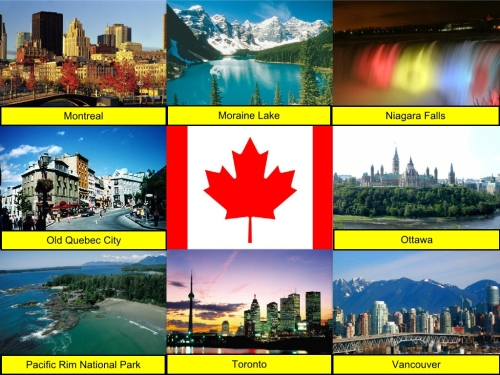 Canada Collage, Canada Flag, collage, Montreal, Moraine Lake, Niagara Falls, Old Quebec City, Ottawa, Pacific Rim National Park, Toronto, Vancouver,