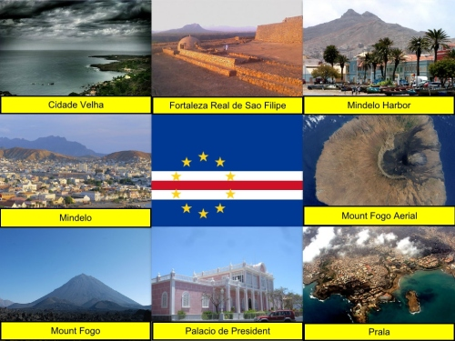 Cape Verde Collage, Cape Verde Flag, collage, Cidade Velha, Fortaleza Real de São Filipe, Mindelo Harbor, Mindelo, Mount Fogo, Palácio de Presidente, Prala