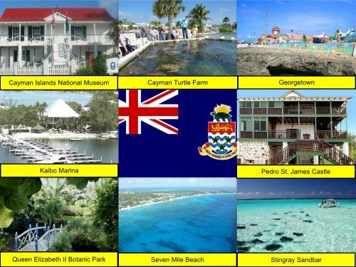 Cayman Islands Collage, collage, Cayman Islands National Museum, Cayman Turtle Farm, Georgetown, Kaibo Marina, Cayman Islands Flag, Pedro St. James Castle, Queen Elizabeth II Botanic Park, Seven Mile Beach, Stingray Sandbar