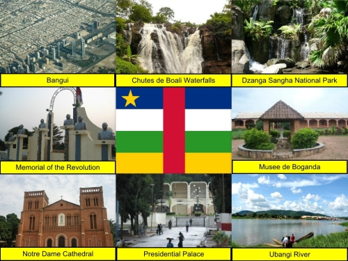 Bangui, Chutes De Boali Waterfalls, Central African Republic Collage, Central African Republic Flag, collage, Dzanga-Sangha National Park, Memorial of the Revolution, Musee de Boganda, Nortre Dame Cathedral, Presidential Palace, Ubangi River